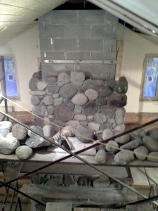 river rock and ceiling